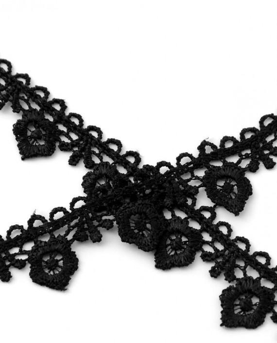 Тесьма 230 цвет черный цветочный картинка 2
