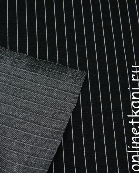 Ткань Трикотаж 0057 цвет черный в полоску картинка 1