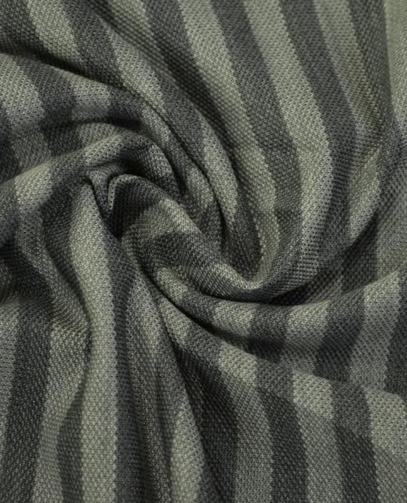 Ткань Трикотаж Хлопоковый Пике  2067 цвет серый в полоску картинка