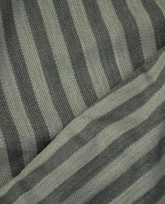 Ткань Трикотаж Хлопоковый Пике  2067 цвет серый в полоску картинка 1