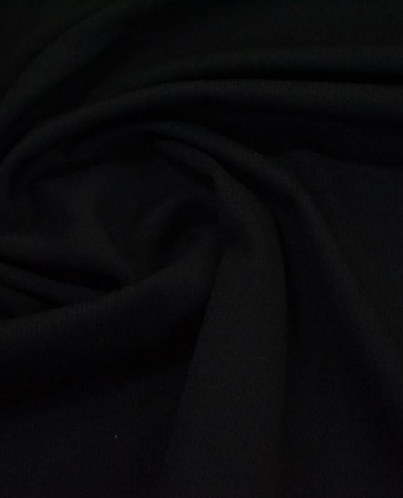 Трикотаж Джерси Полиэстер - последний отрез2m 12468 цвет черный картинка
