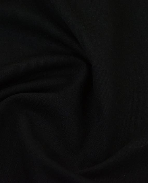 Трикотаж Джерси Полиэстер - последний отрез2m 12468 цвет черный картинка 2