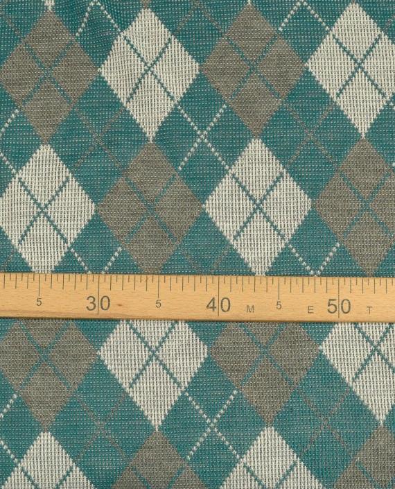 Ткань Трикотаж Вязаный 1555 цвет зеленый в клетку картинка 1