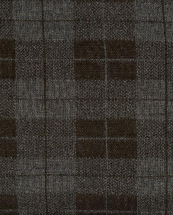 Ткань Трикотаж Вязаный 1561 цвет серый в клетку картинка