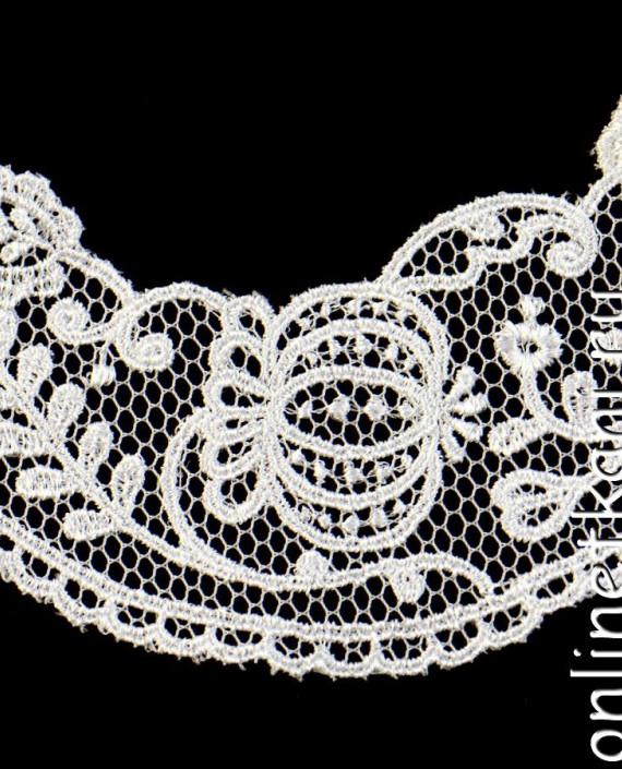 Воротник декоративный 085 цвет белый цветочный картинка 2