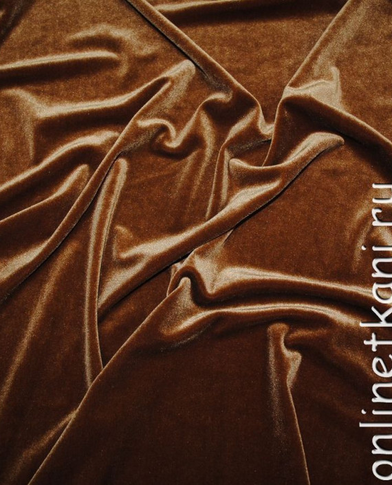 """Ткань Бархат """"Коричневый"""" 014 цвет коричневый картинка"""