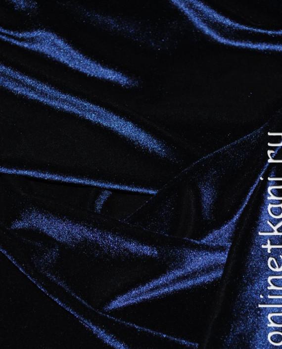 """Ткань Бархат-стрейч """"Полночь"""" 022 цвет синий картинка 4"""