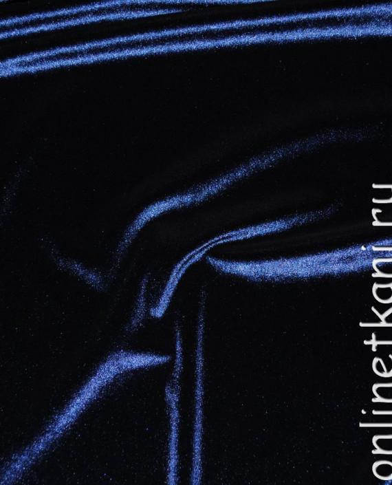 """Ткань Бархат-стрейч """"Полночь"""" 022 цвет синий картинка 3"""