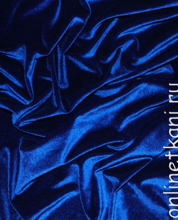 "Ткань Бархат-стрейч ""Ультрамарин"" 007 цвет синий картинка"