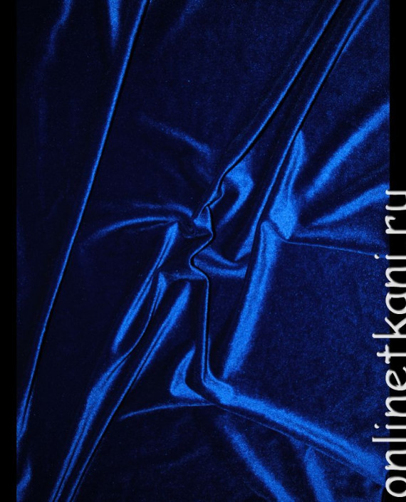 "Ткань Бархат-стрейч ""Ультрамарин"" 007 цвет синий картинка 1"