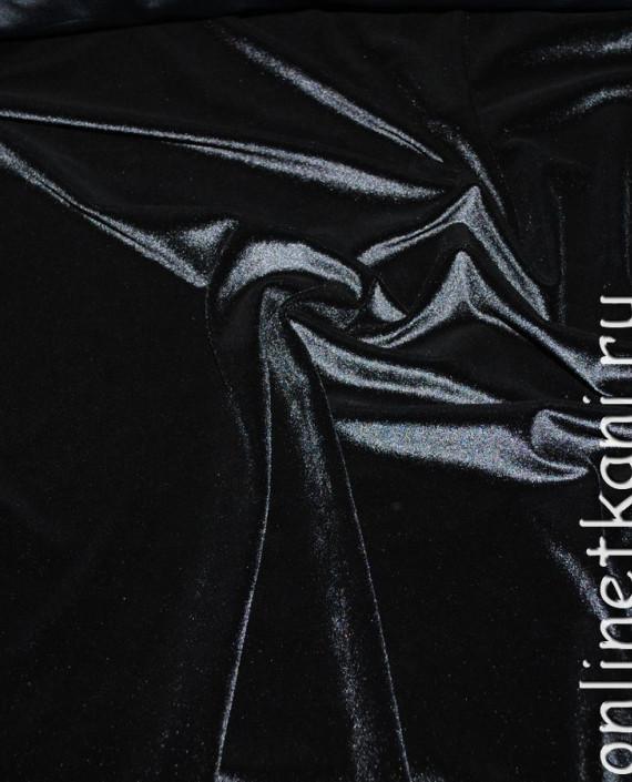 """Ткань Бархат-стрейч """"Черный"""" 005 цвет черный картинка"""