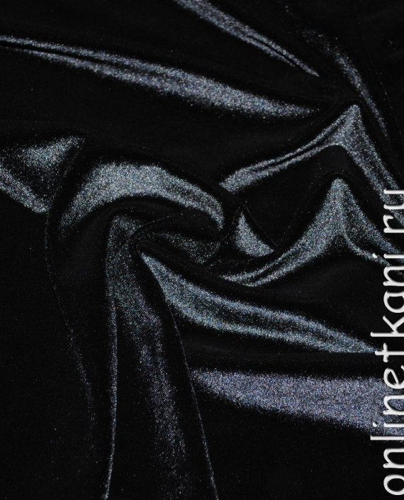"""Ткань Бархат-стрейч """"Черный"""" 005 цвет черный картинка 2"""