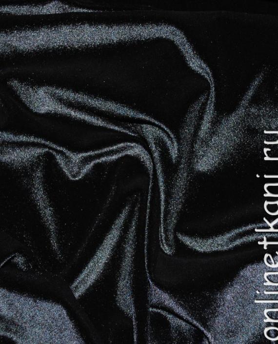 """Ткань Бархат-стрейч """"Черный"""" 005 цвет черный картинка 1"""