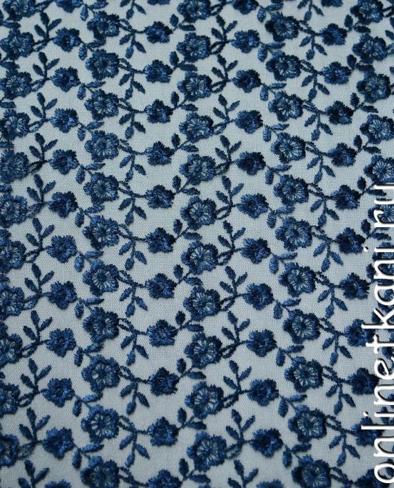Ткань Гипюр 075 цвет синий цветочный картинка