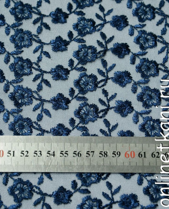 Ткань Гипюр 075 цвет синий цветочный картинка 1