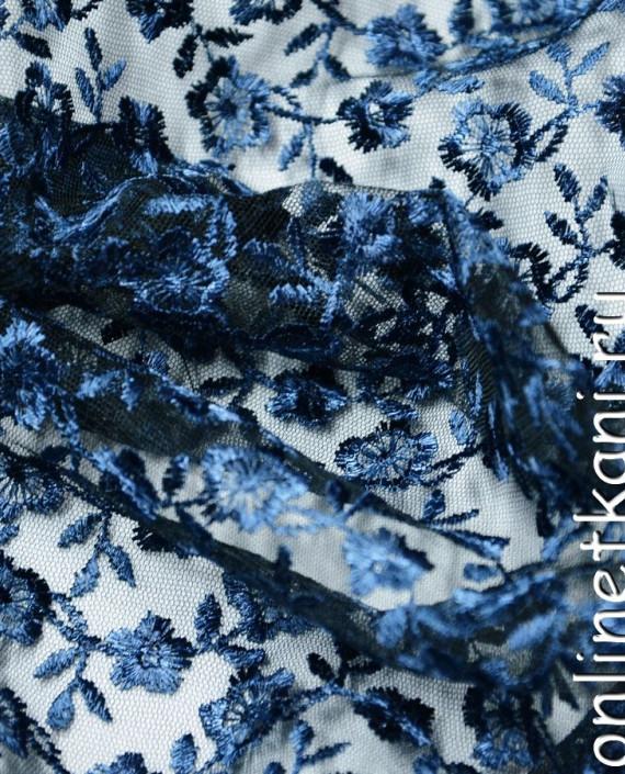 Ткань Гипюр 075 цвет синий цветочный картинка 2