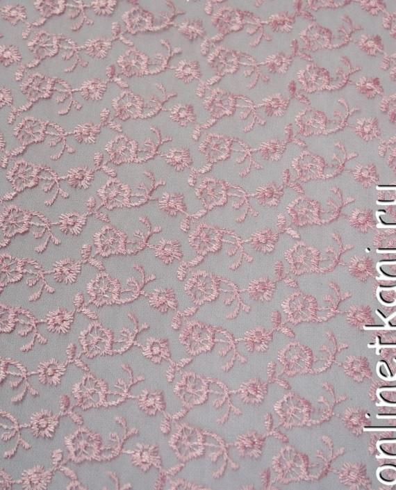Ткань Гипюр 076 цвет розовый цветочный картинка