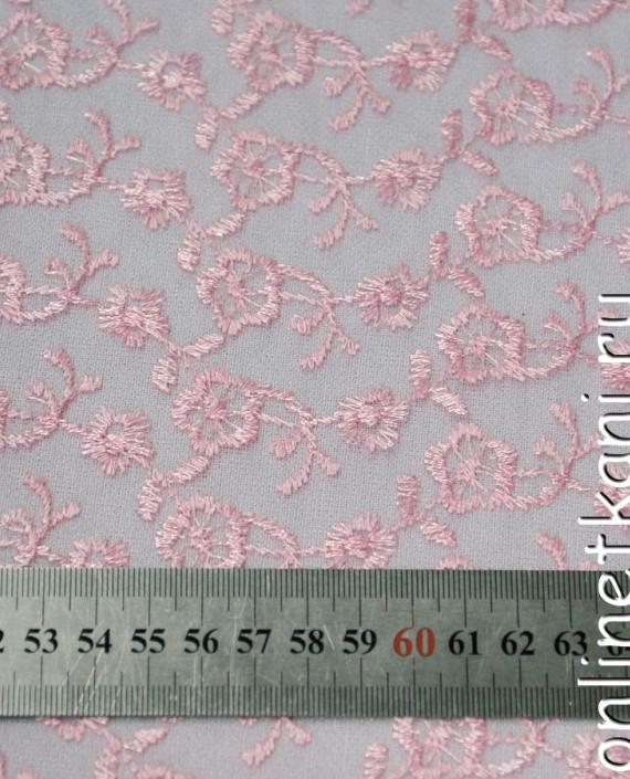 Ткань Гипюр 076 цвет розовый цветочный картинка 1
