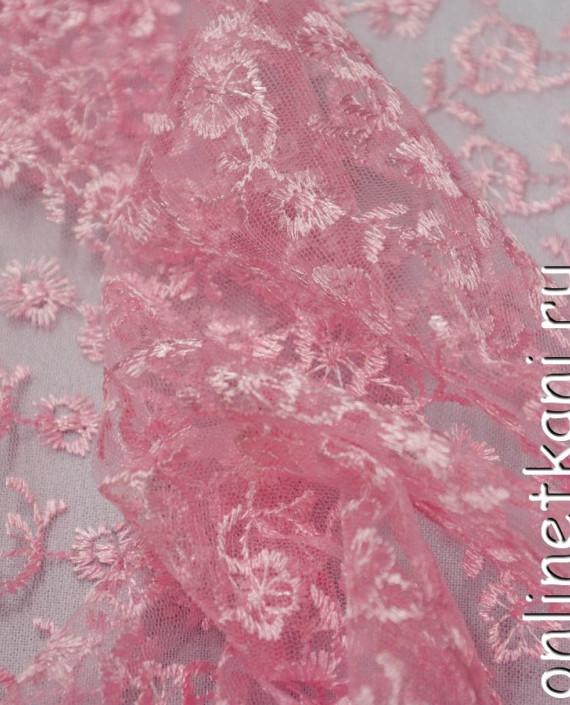 Ткань Гипюр 076 цвет розовый цветочный картинка 2