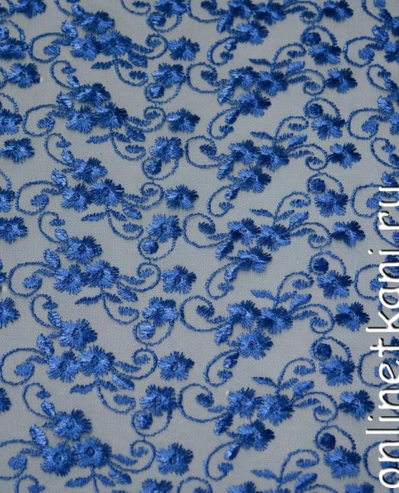 Ткань Гипюр 077 цвет голубой цветочный картинка