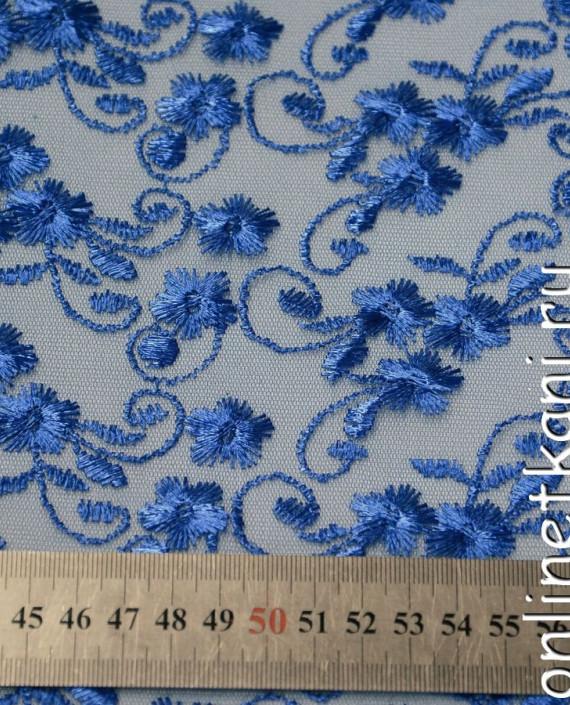 Ткань Гипюр 077 цвет голубой цветочный картинка 1