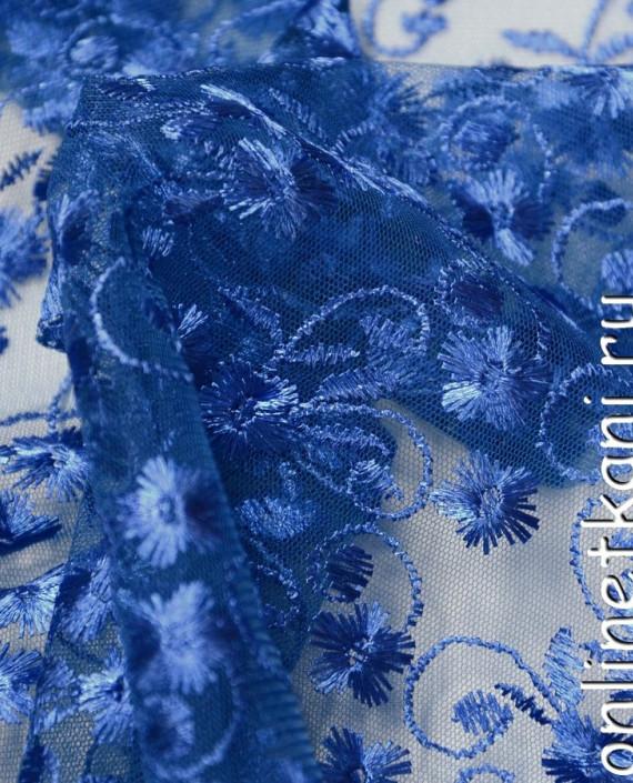 Ткань Гипюр 077 цвет голубой цветочный картинка 2