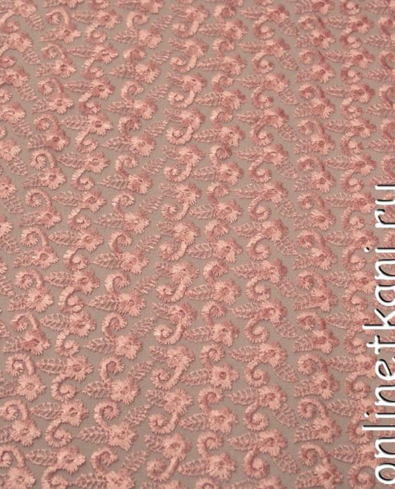 Ткань Гипюр 078 цвет розовый цветочный картинка