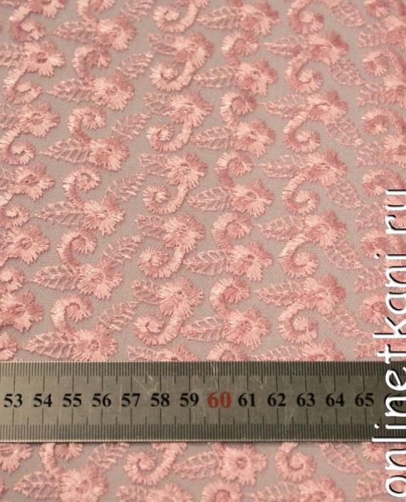 Ткань Гипюр 078 цвет розовый цветочный картинка 1