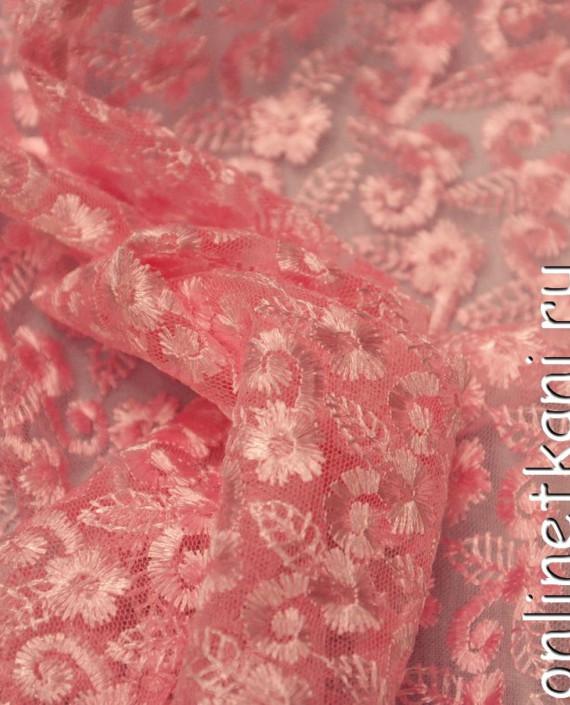 Ткань Гипюр 078 цвет розовый цветочный картинка 2