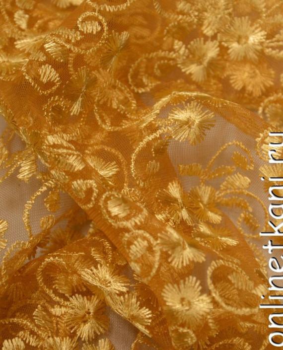 Ткань Гипюр 079 цвет золотой цветочный картинка 2