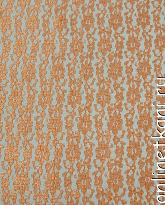 Ткань Гипюр 088 цвет оранжевый цветочный картинка 2
