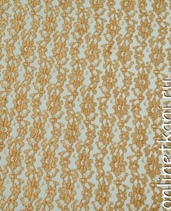 Ткань Гипюр 093 цвет оранжевый цветочный картинка 1