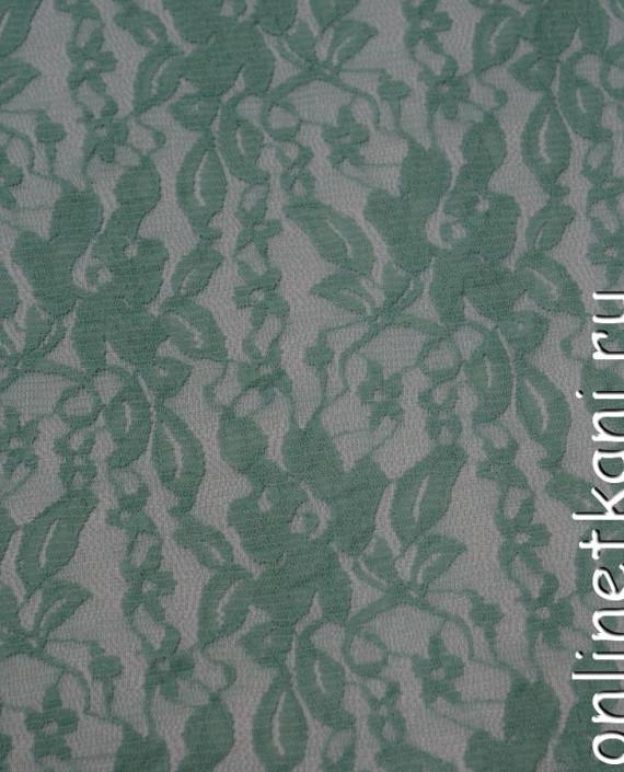 Ткань Гипюр-стрейч 104 цвет зеленый цветочный картинка