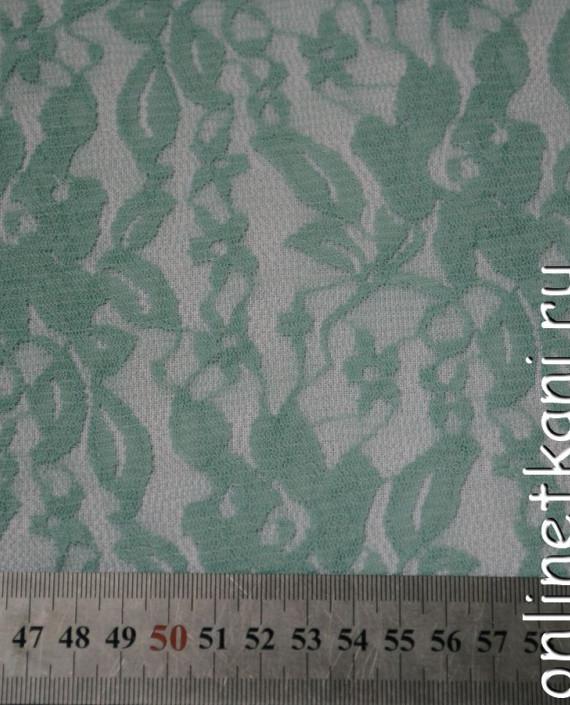 Ткань Гипюр-стрейч 104 цвет зеленый цветочный картинка 1