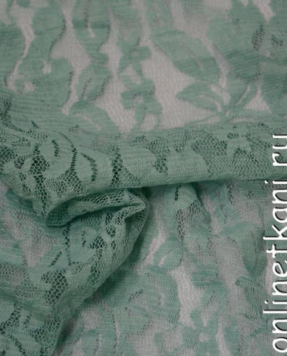 Ткань Гипюр-стрейч 104 цвет зеленый цветочный картинка 2