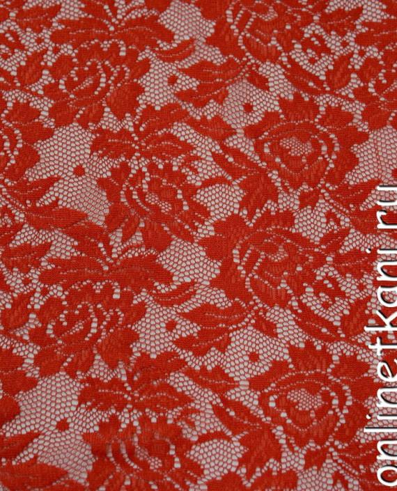 Ткань Гипюр-стрейч 106 цвет красный цветочный картинка