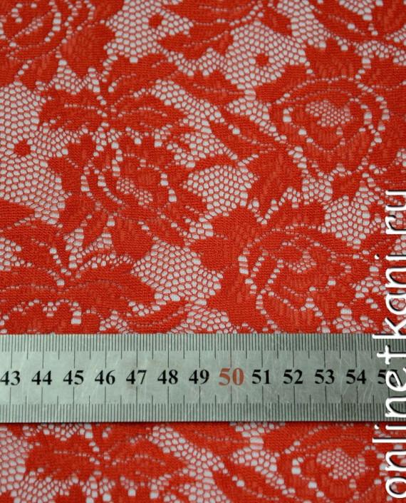 Ткань Гипюр-стрейч 106 цвет красный цветочный картинка 2