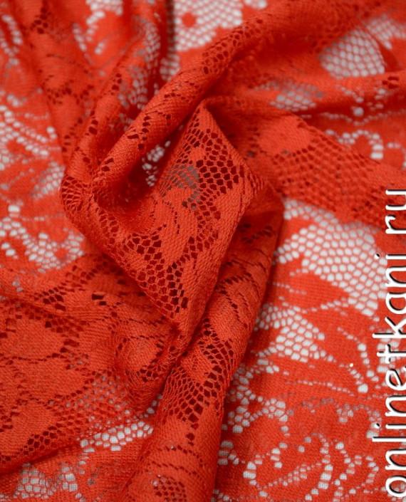 Ткань Гипюр-стрейч 106 цвет красный цветочный картинка 1
