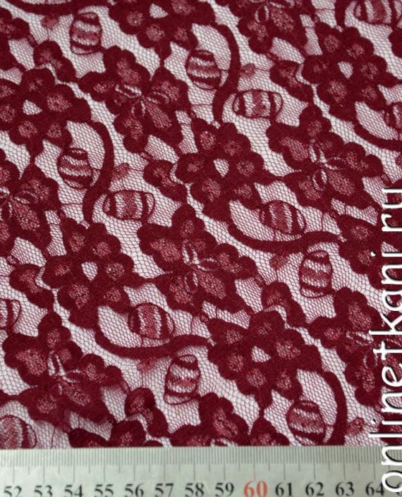 Ткань Гипюр-стрейч 108 цвет бордовый цветочный картинка 1