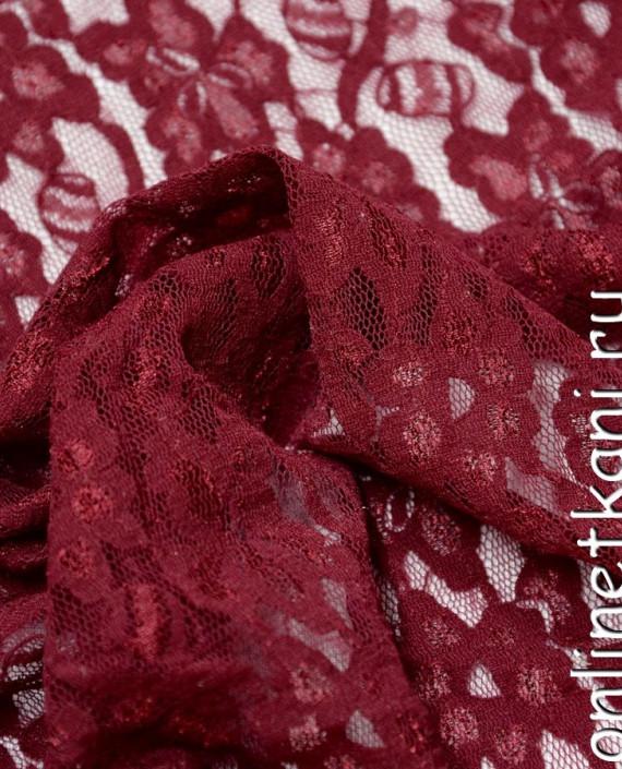 Ткань Гипюр-стрейч 108 цвет бордовый цветочный картинка 2