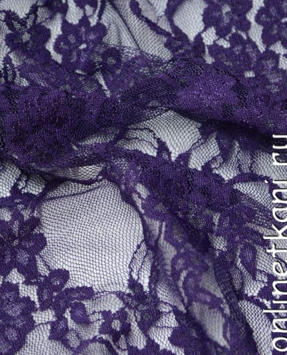 Ткань Гипюр-стрейч 102 цвет фиолетовый цветочный картинка 1