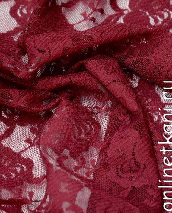 Ткань Гипюр-стрейч 111 цвет красный цветочный картинка 2