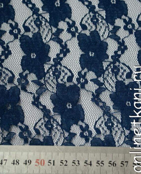 Ткань Гипюр-стрейч 112 цвет синий цветочный картинка 1