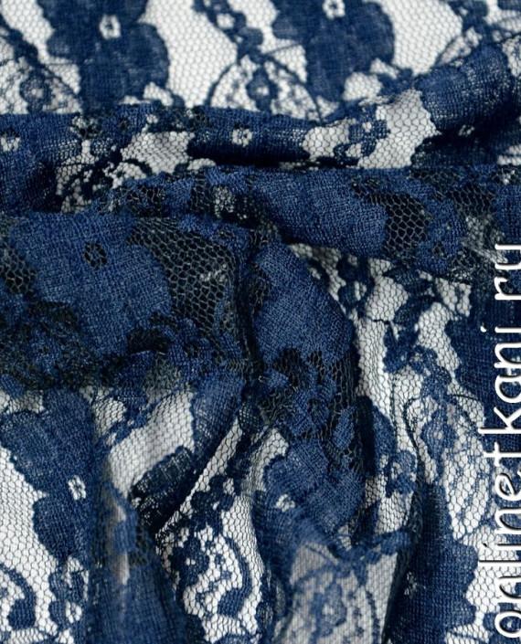 Ткань Гипюр-стрейч 112 цвет синий цветочный картинка 2