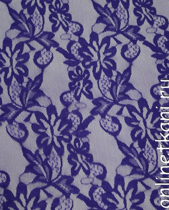 Ткань Гипюр-стрейч 115 цвет фиолетовый цветочный картинка