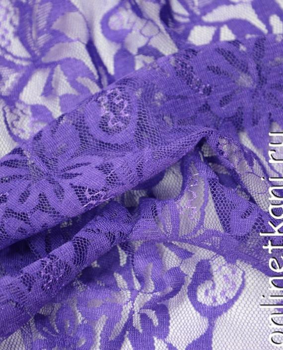 Ткань Гипюр-стрейч 115 цвет фиолетовый цветочный картинка 1