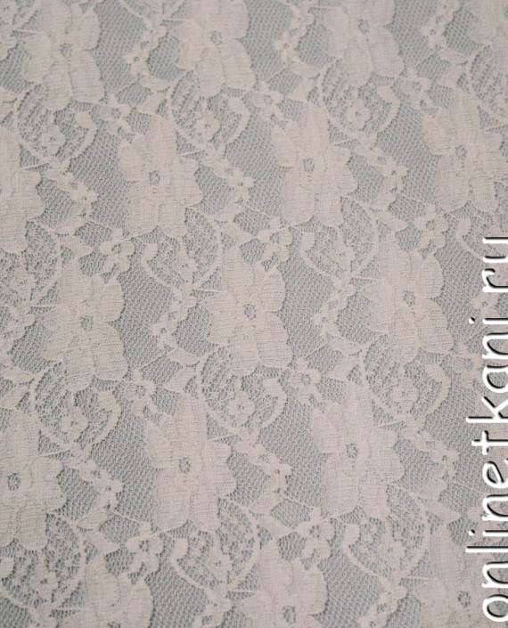 Ткань Гипюр-стрейч 116 цвет белый цветочный картинка