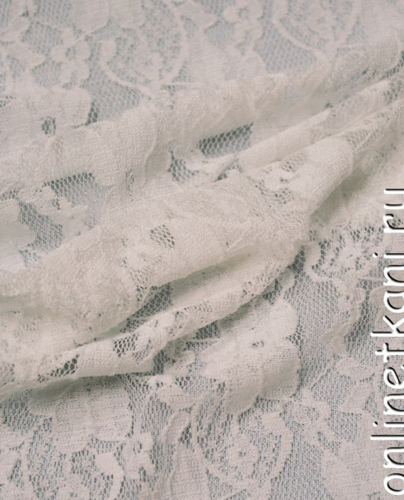 Ткань Гипюр-стрейч 116 цвет белый цветочный картинка 2