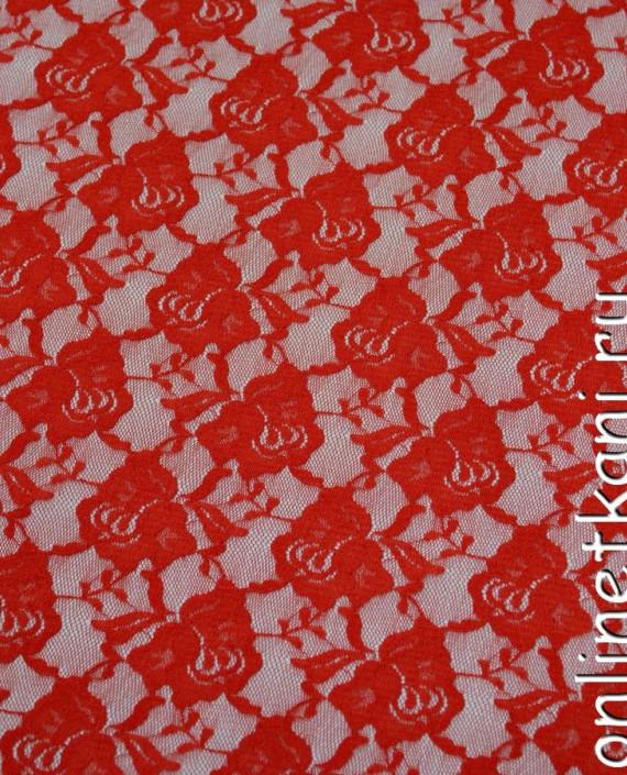 Ткань Гипюр-стрейч 117 цвет красный цветочный картинка