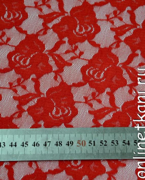 Ткань Гипюр-стрейч 117 цвет красный цветочный картинка 1